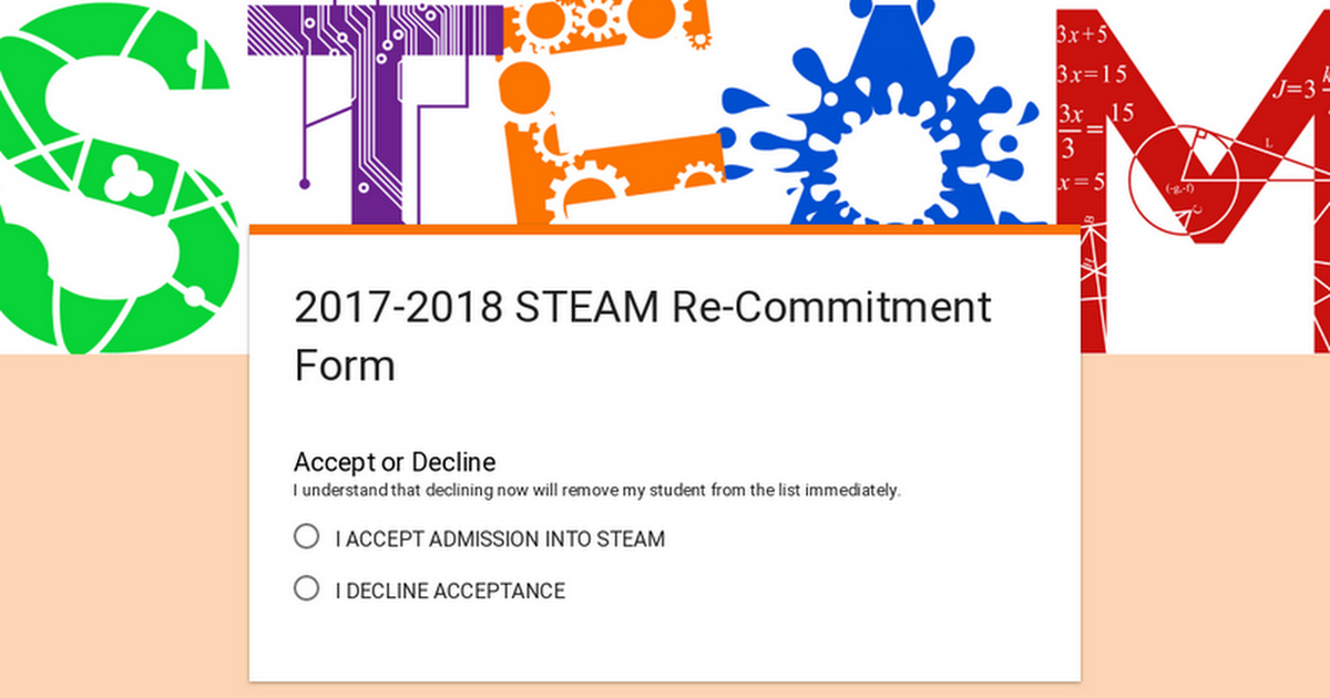 2017-2018 STEAM Re-Commitment Form