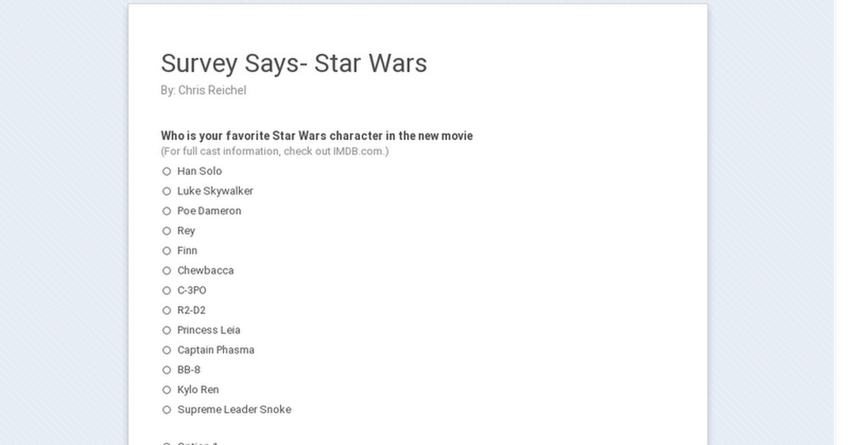 Survey Says- Star Wars