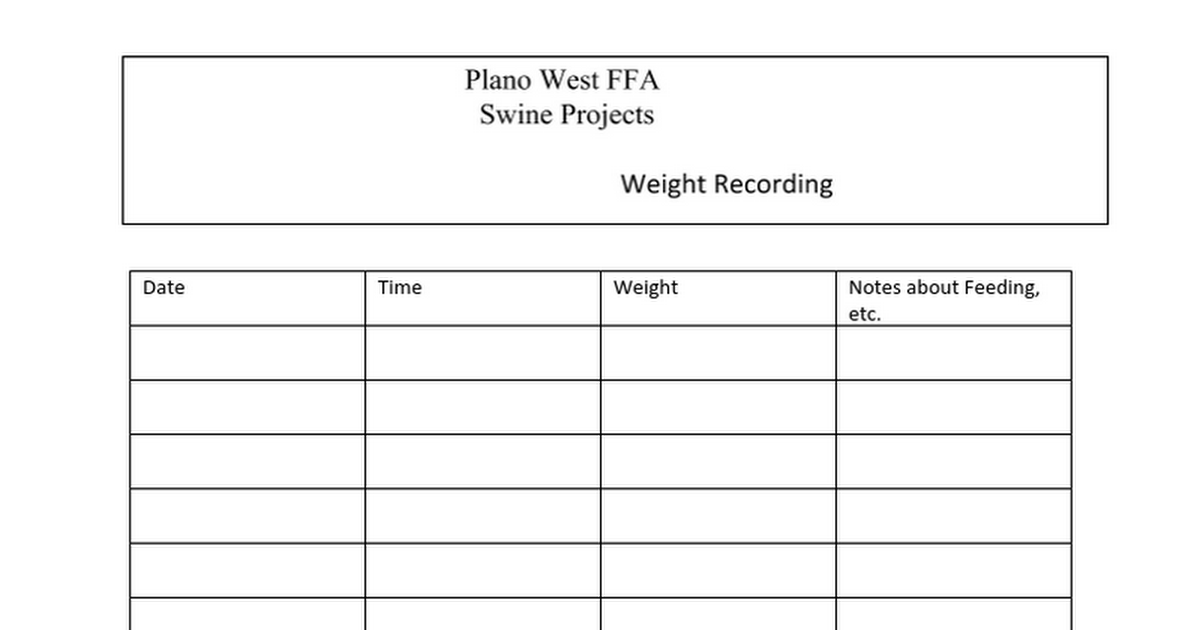 Pig Weight Recording