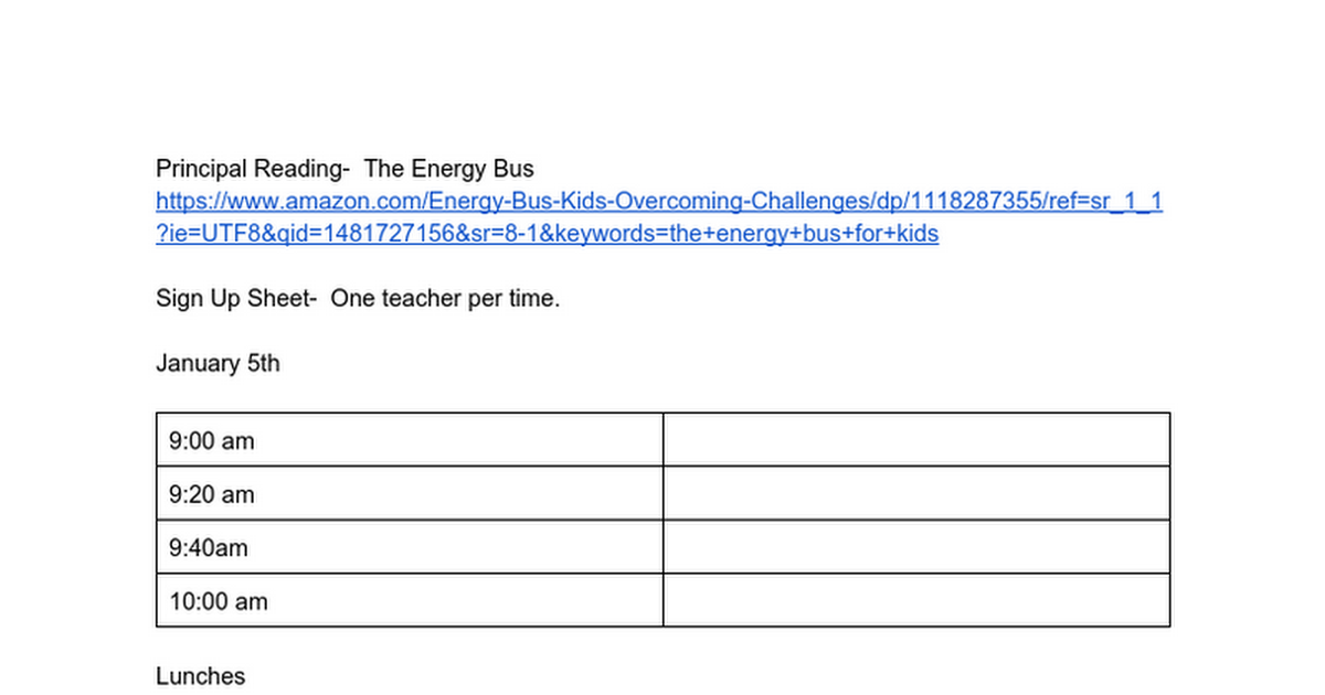 Principal Reading-  The Energy Bus