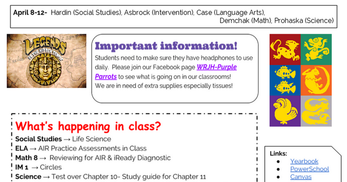 The LEGEND Scroll | Smore Newsletters for Education
