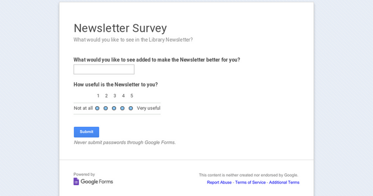 Newsletter Survey