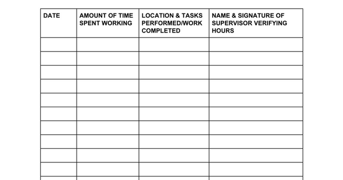 Graduation Requirement - Community Service Hours Tracking Sheet