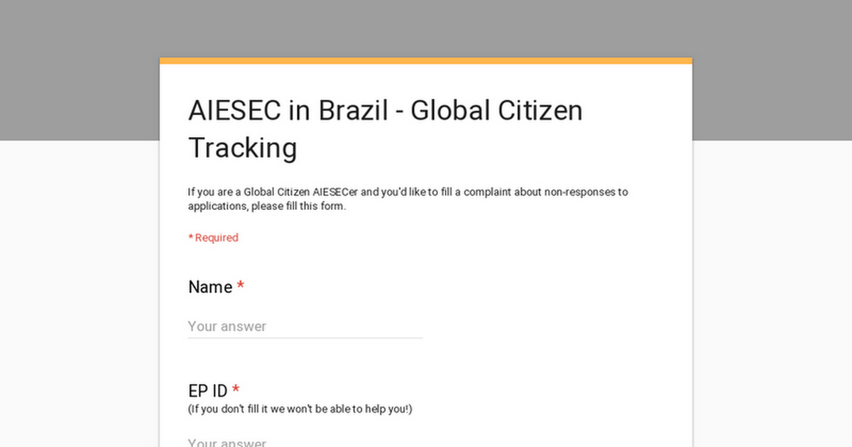 AIESEC in Brazil - Global Citizen Tracking