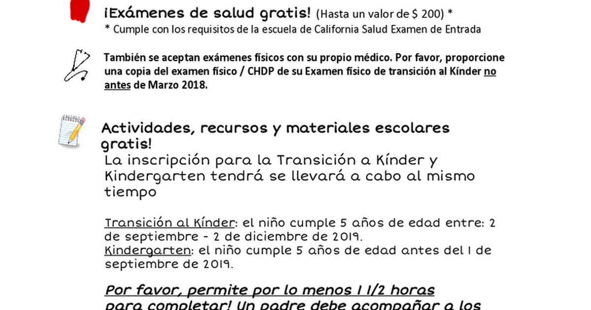Spanish flyer 2019-kindergarten roundup