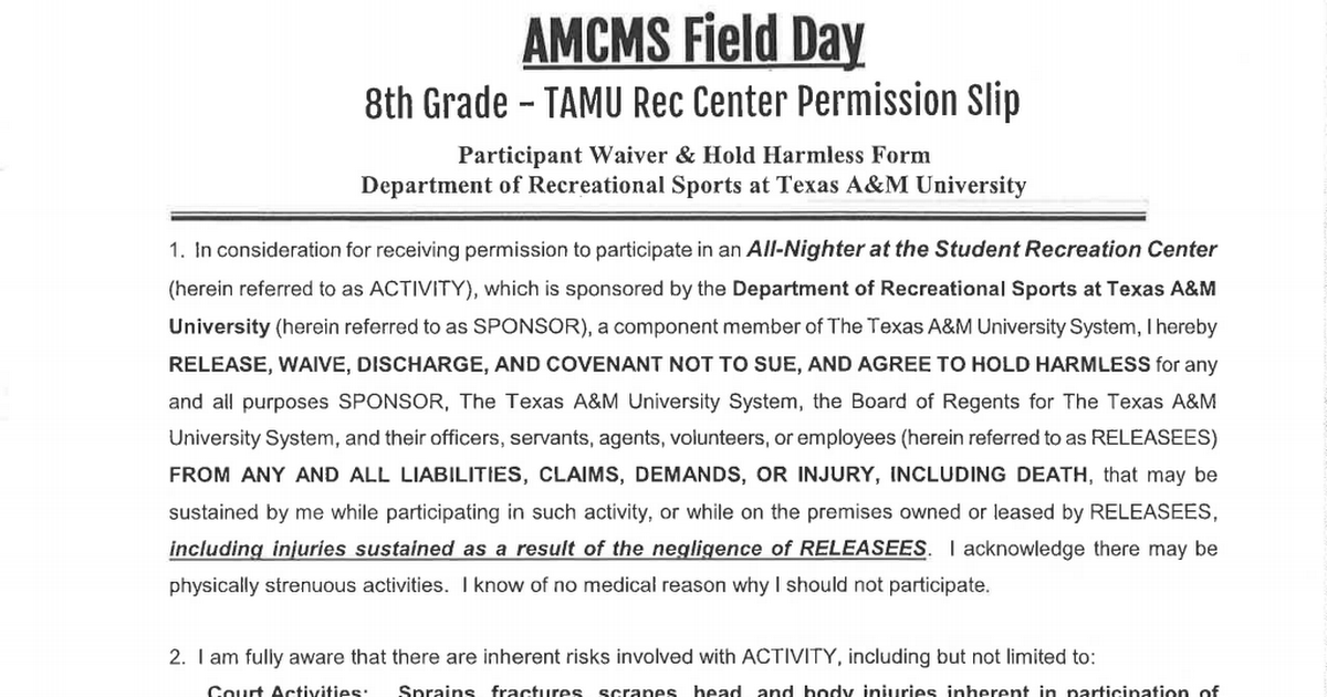 16-17 Field Day - 8th Grade - Rec Center Permission Slip.pdf