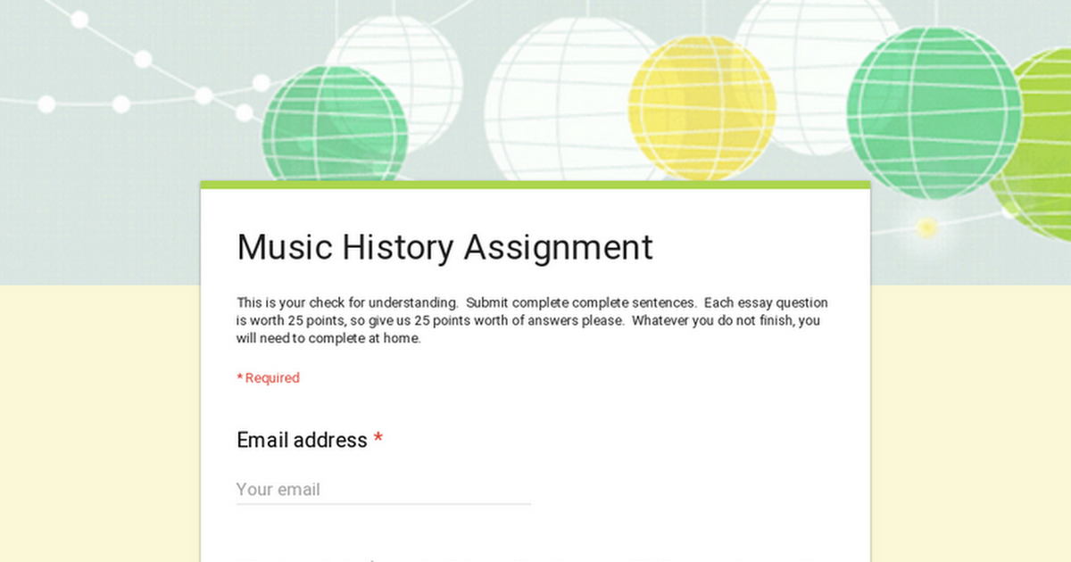 Music History Assignment