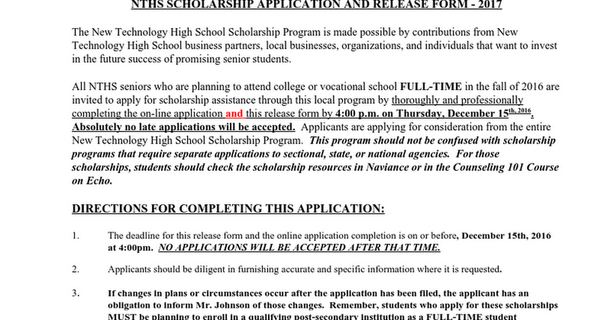 2017 Scholarship Application and Release Form