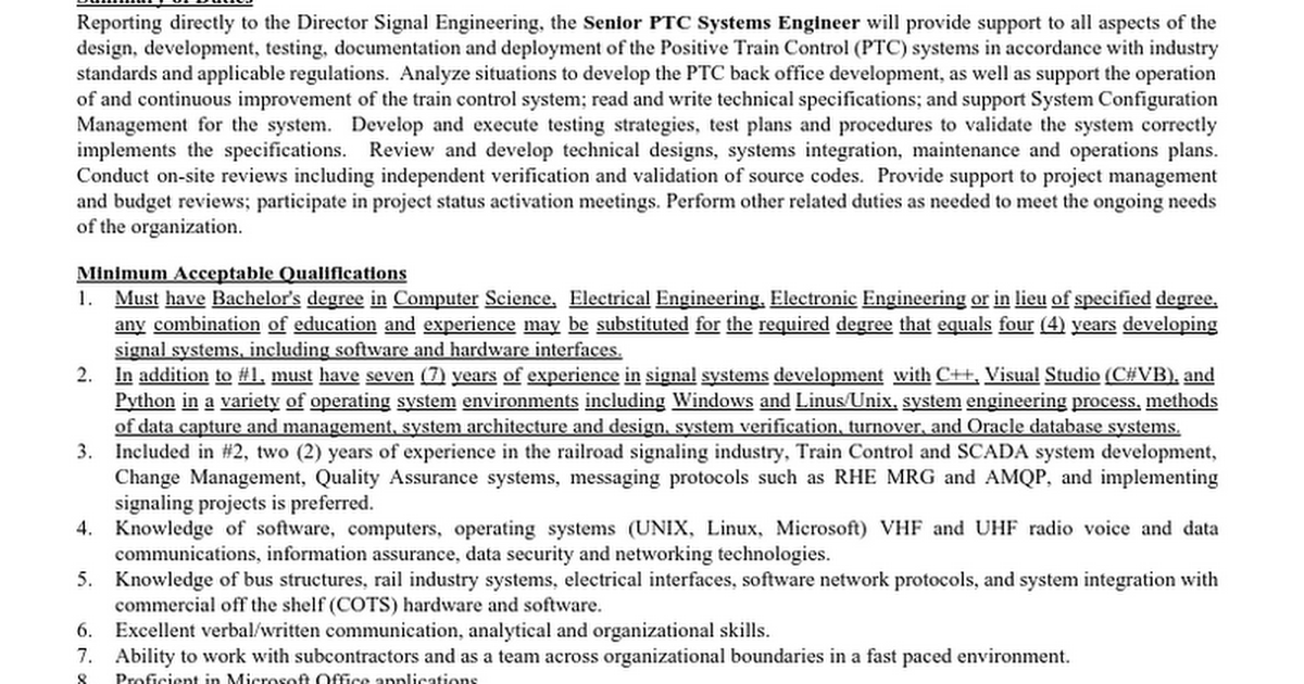 Senior PTC Systems Engineer #258