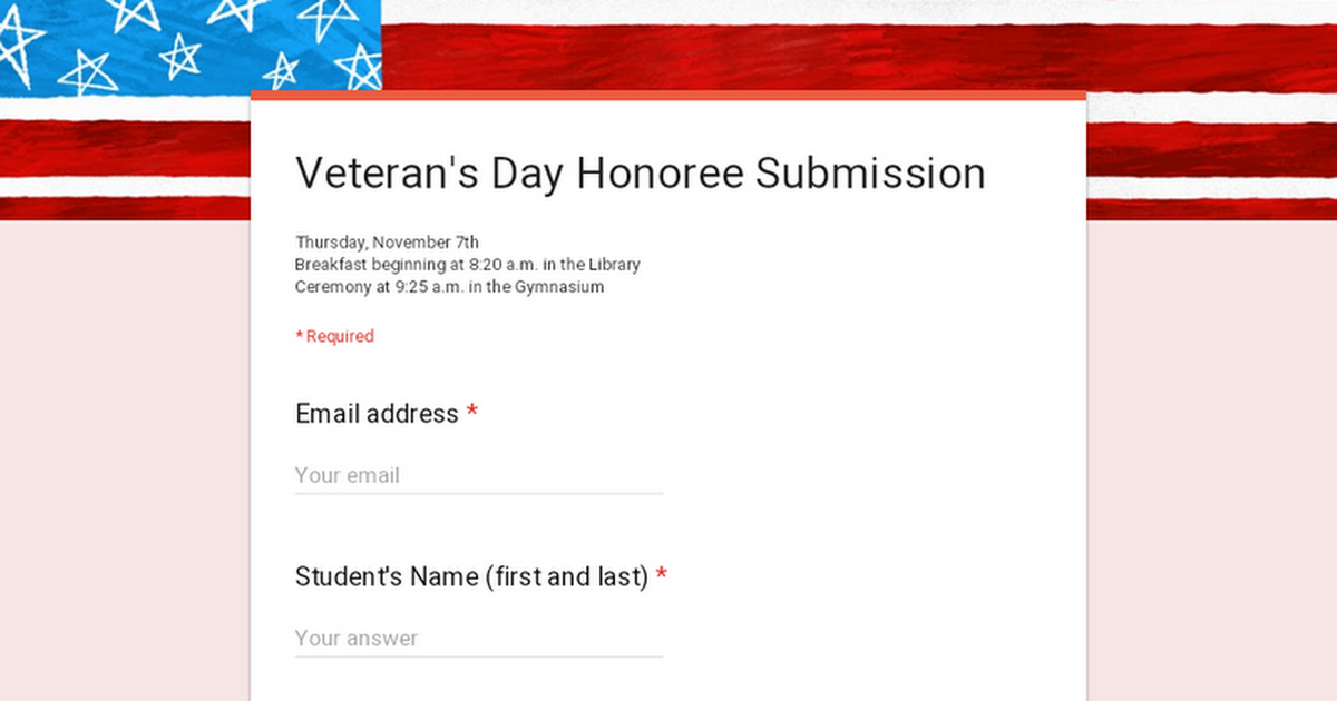 Veteran's Day Honoree Submission