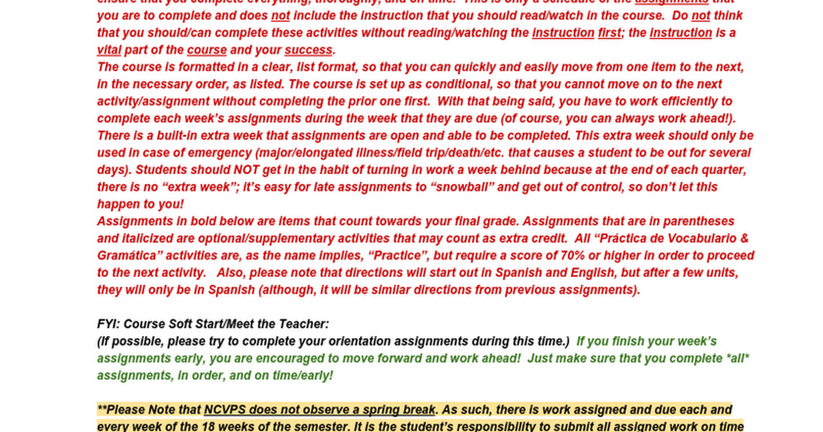 Block Spanish II Schedule of Assignments - Moodle Spring 2016