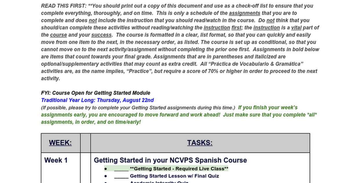 Year Long Spanish I Schedule of Assignments - 2015-2016