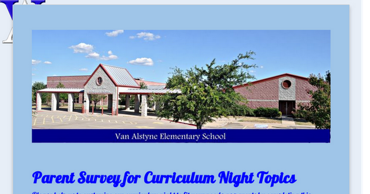 Parent Survey for Curriculum Night Topics
