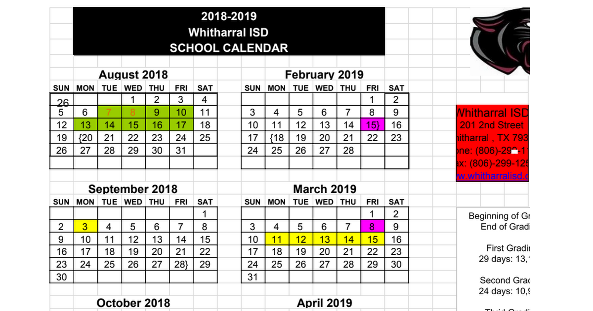 2018-2019 calendar Board Adopted.xls