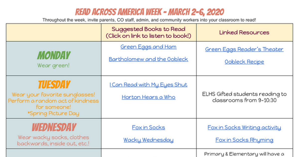 2020 Read Across America Week Resources