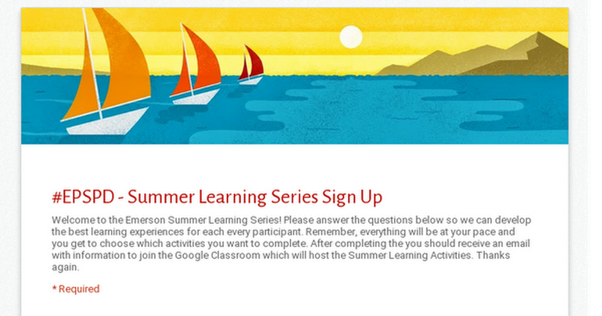 #EPSPD - Summer Learning Series Sign Up