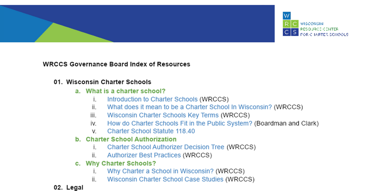 WRCCS Governance Board Index of Resources