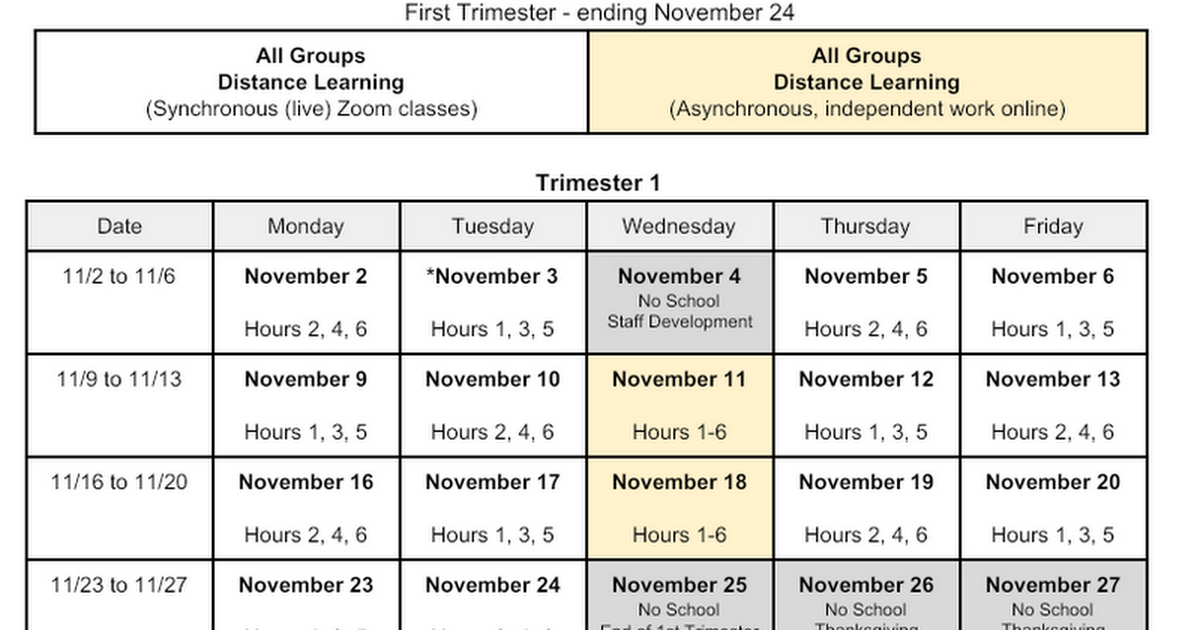 High School Modified Distance Learning schedule by Week (First Trimester)