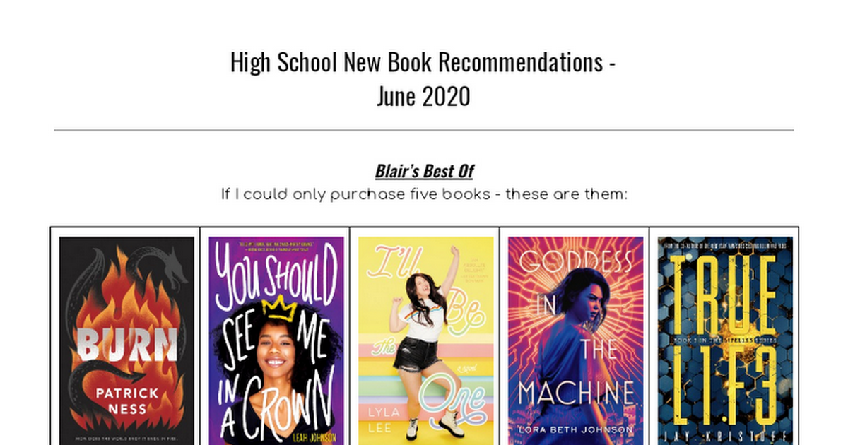 9-12 New Book Recommendations June 2020