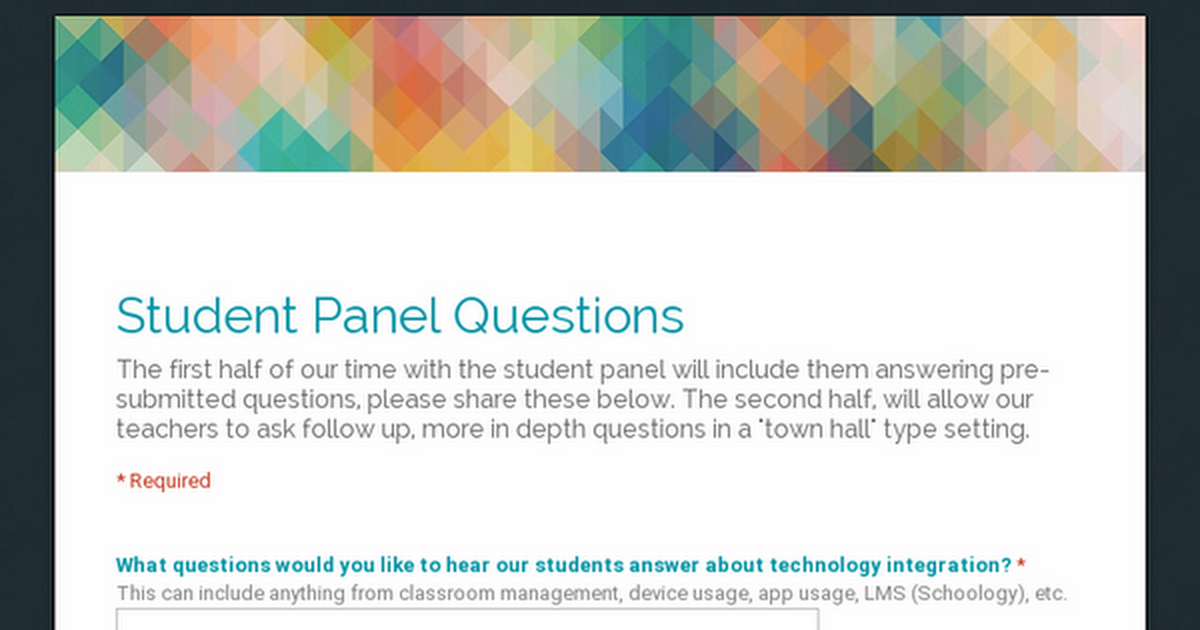 Student Panel Questions