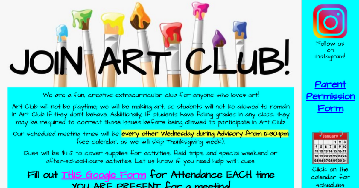 Art Club UPDATES and LINKS