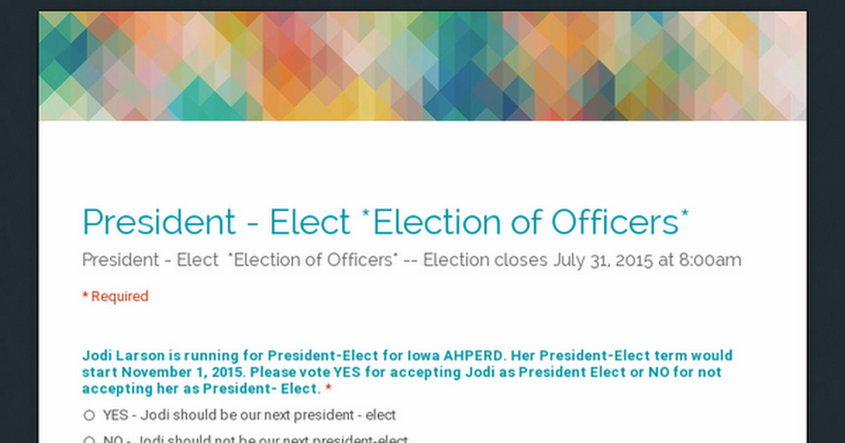 President - Elect   *Election of Officers*