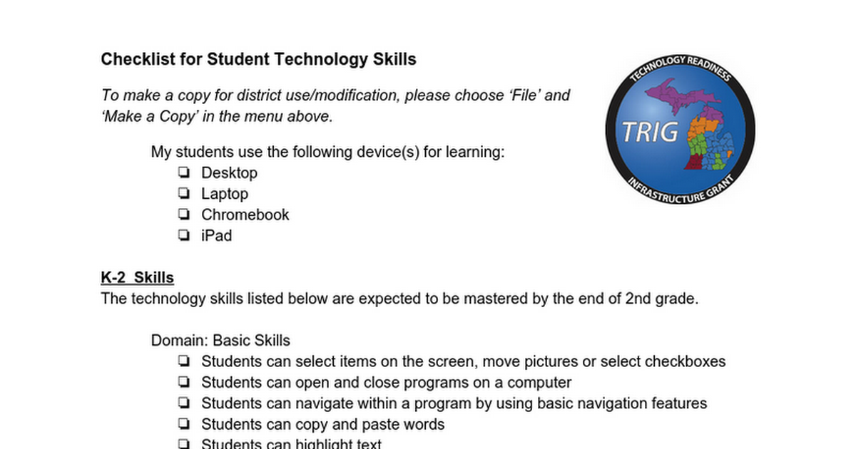 Technology Skills For Students
