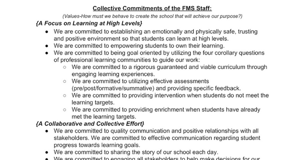 FMS Misson/Vision/Collective Commitments