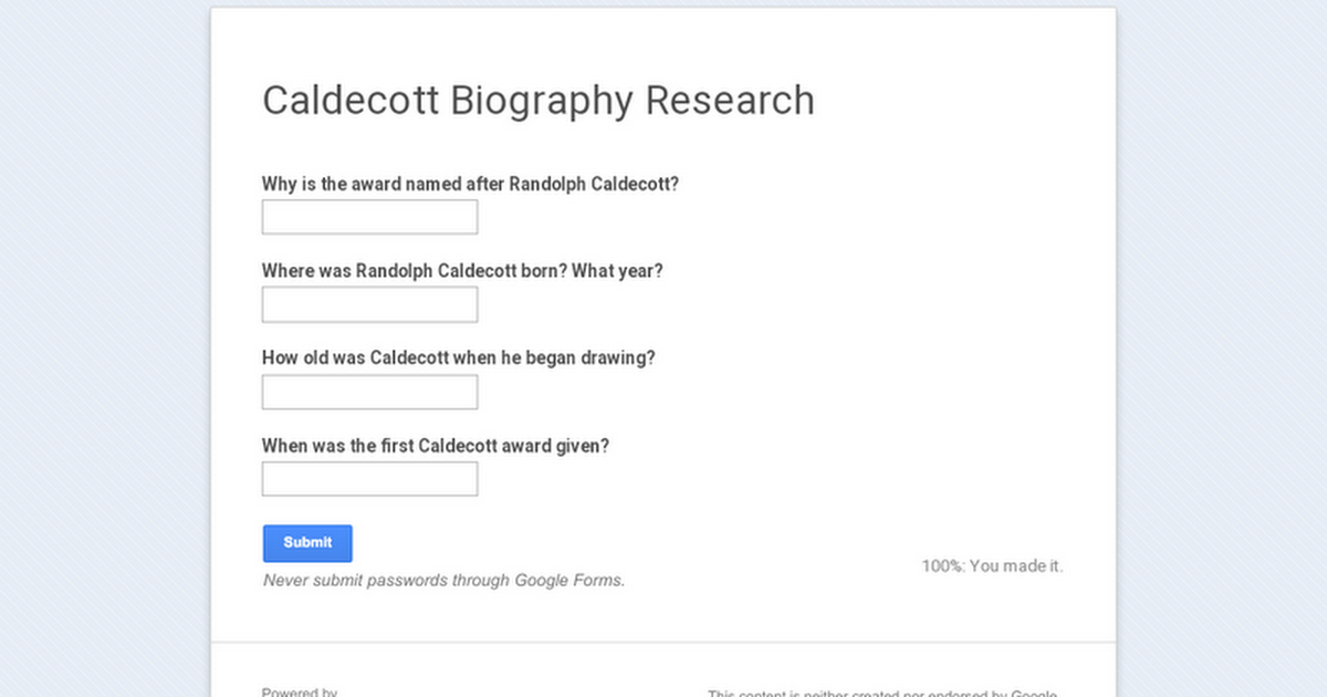 Caldecott Biography Research