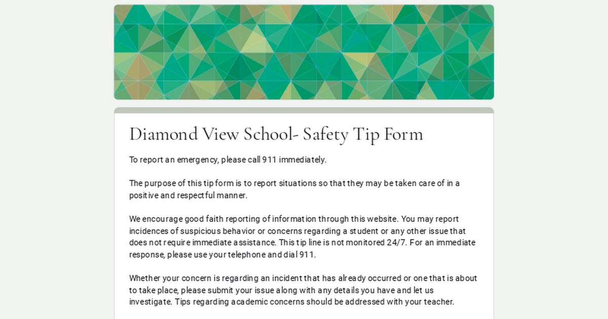 Diamond View School- Safety Tip Form