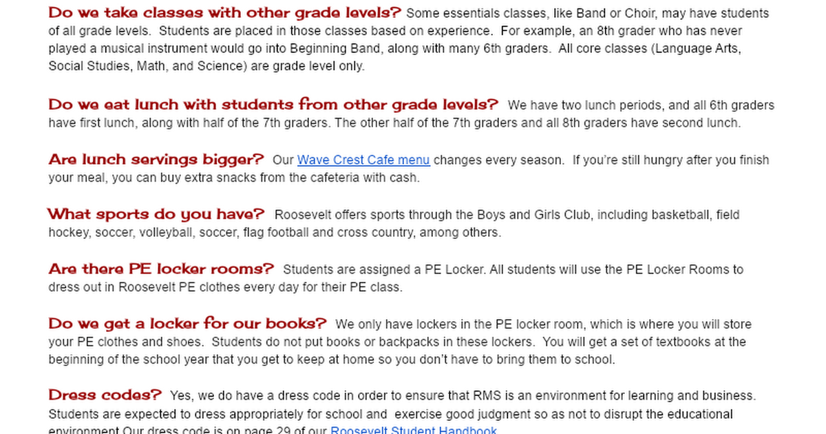 FAQ - Transition from Elementary to Roosevelt Middle School