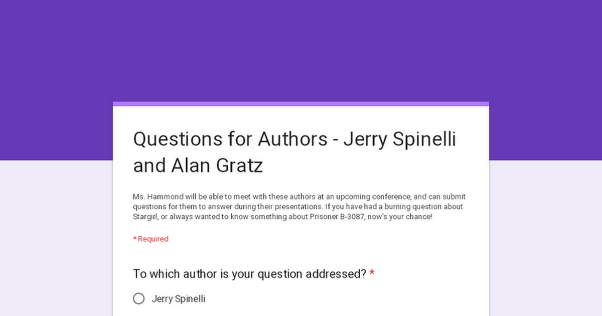 Questions for Authors - Jerry Spinelli and Alan Gratz
