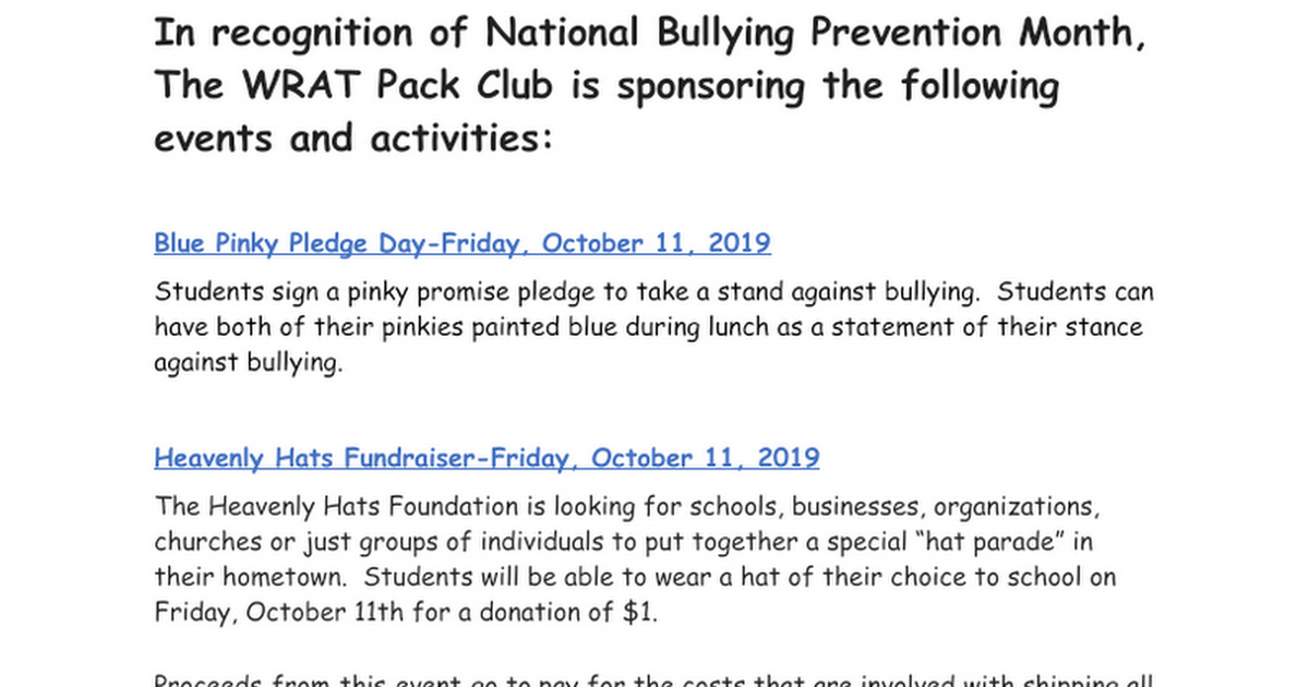 National Bullying Prevention Month Activities