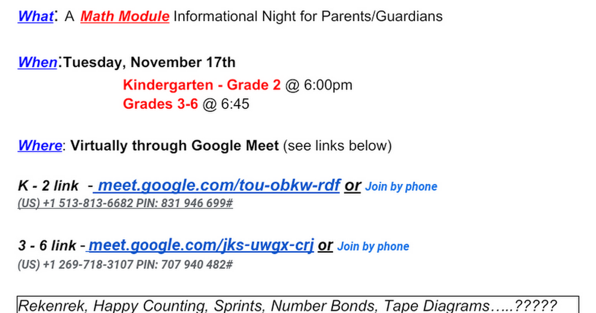 You're Invited - Math Module informational night