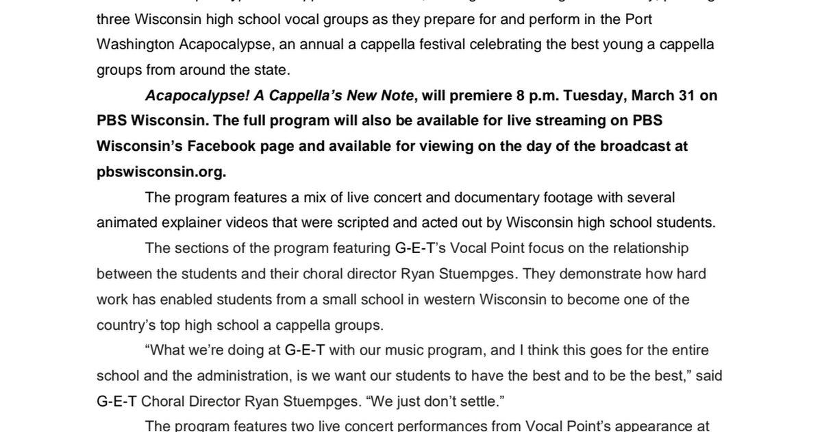 NEWS RELEASE- Gale-Ettrick-Trempealeau High School A Cappella Group Featured in New PBS Wisconsin Documentary Premiering Tuesday, March 31  .pdf
