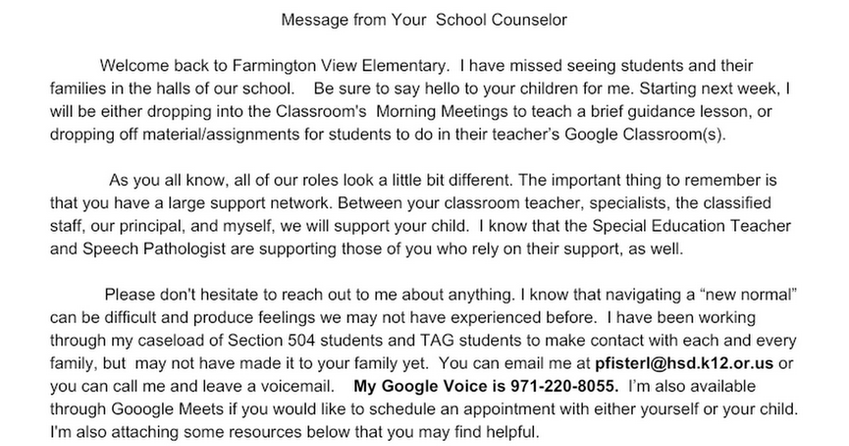 Counselor Family Letter