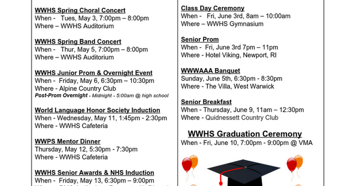 WWHS Spring Events 2016