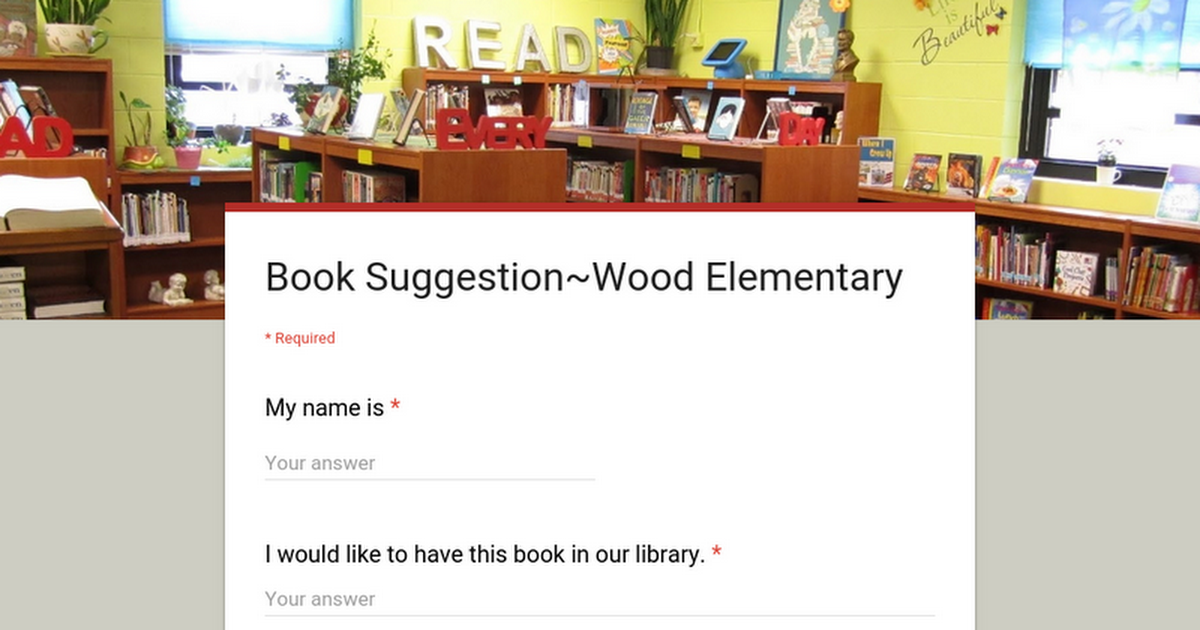Book Suggestion~Wood Elementary