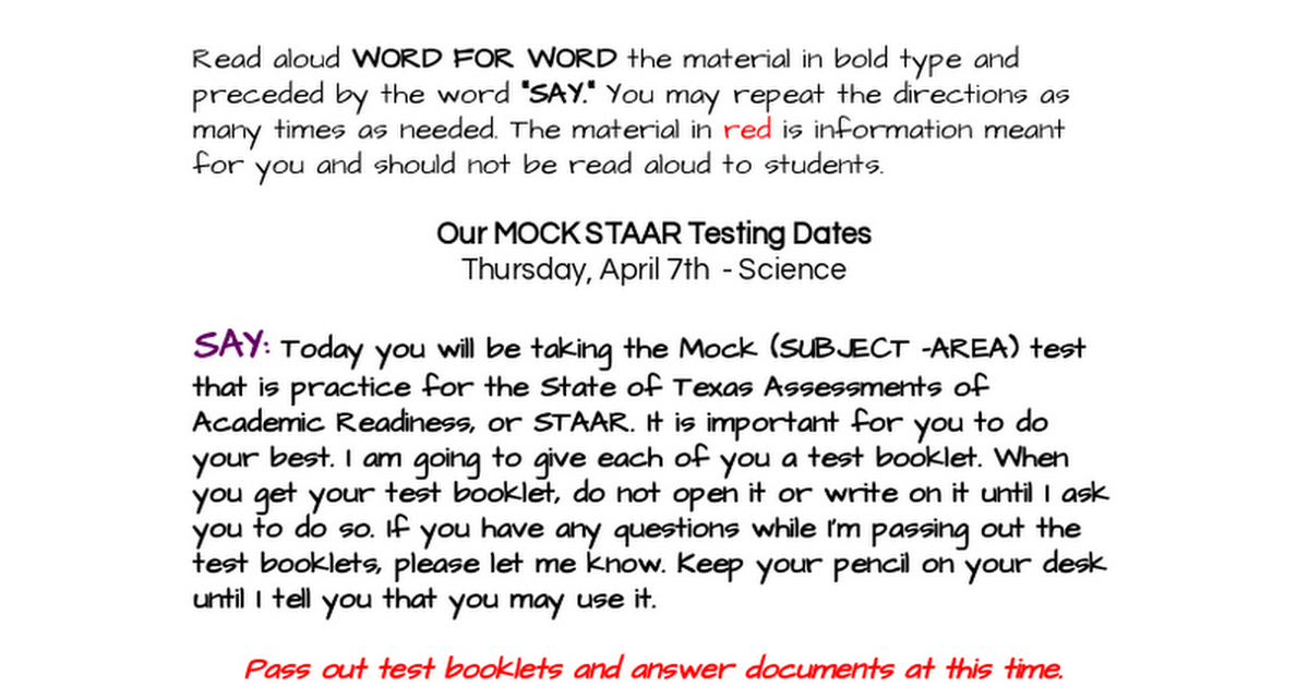 TEST ADMINISTRATION DIRECTIONS FOR MOCK STAAR TESTING AT EES.docx