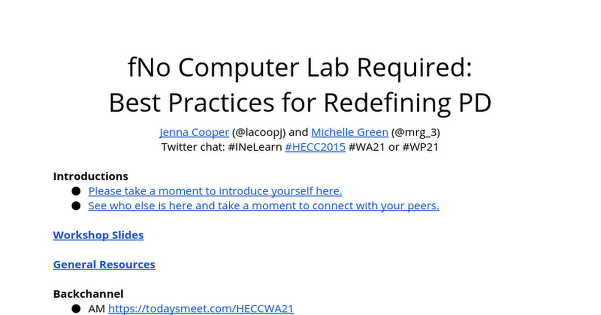No Computer Lab Required: Best Practices for Redefining PD