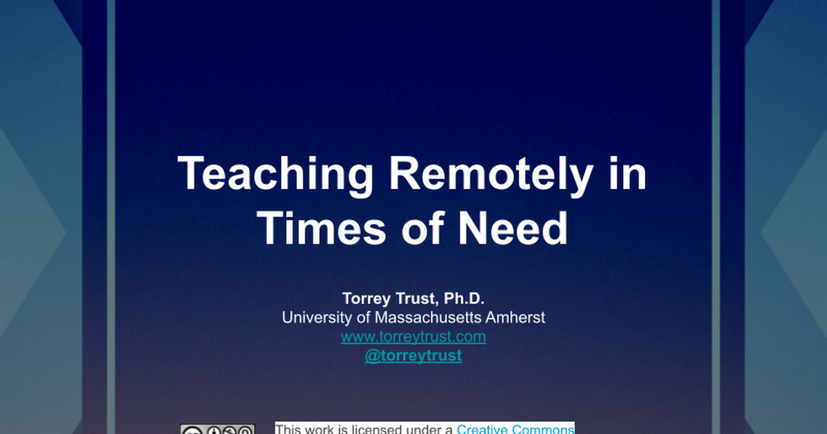 Teaching Remotely in Times of Need