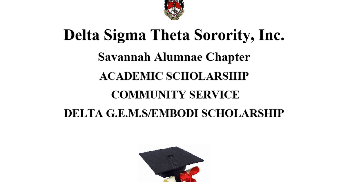 Delta Sigma Theta Sorority, Inc Scholarship Application High School Students.docx
