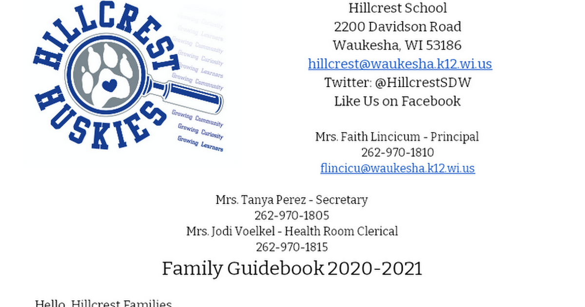Hillcrest Family Guidebook 2019-2020
