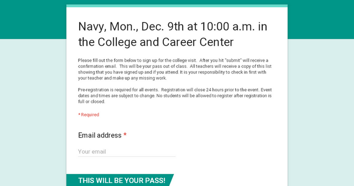Navy, Mon., Nov. 4th at 9:00 a.m. in the College and Career Center