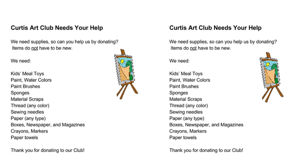 Donations to help Art Club