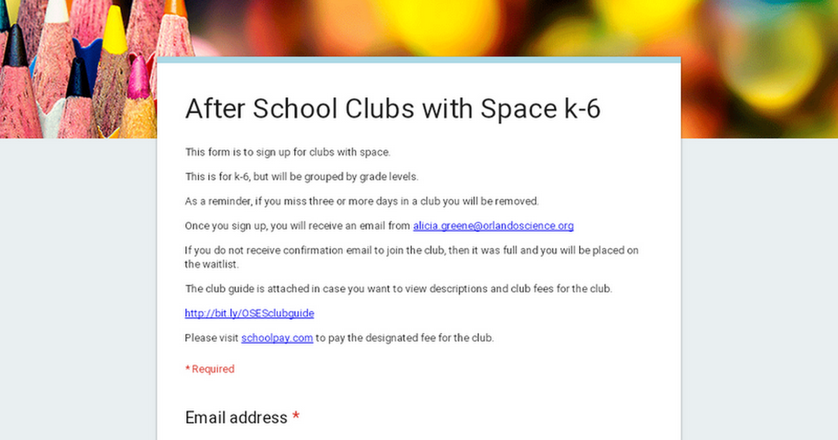 After School Clubs with Space k-6