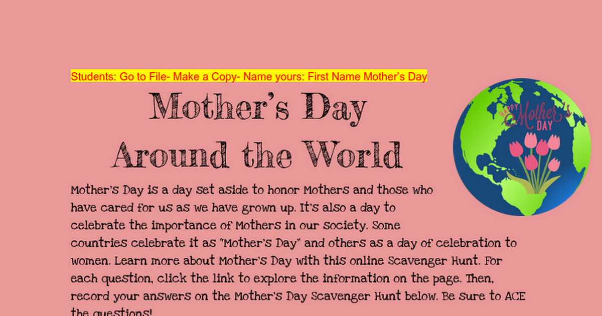 Mother's Day Around the World HyperDoc
