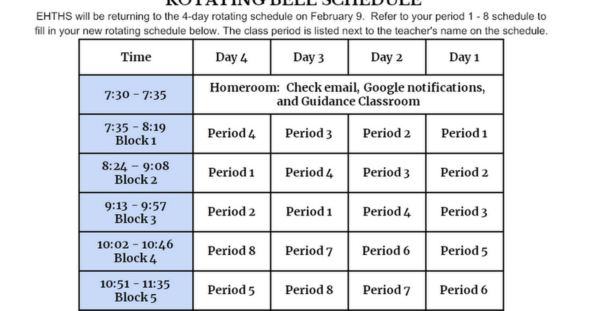 HYBRID/VIRTUAL LEARNING  ROTATING BELL SCHEDULE - Students