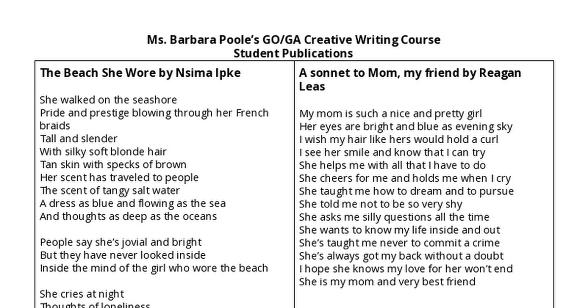 Ms. Poole's Poetry Course