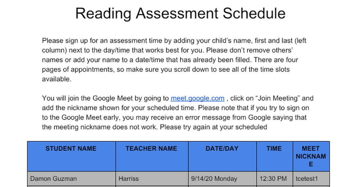 TCE 1st Grade Fall Benchmark Google Meet Sign Up